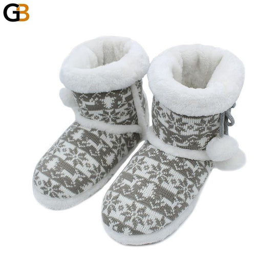 Knitted Wool Soft Warm Winter Plush Home Slippers with Cute Balls - SolaceConnect.com
