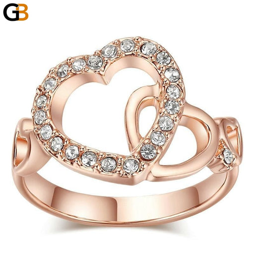 Quality Rose Gold Color Romantic Dual Hearts Rings with Austrian Crystals - SolaceConnect.com