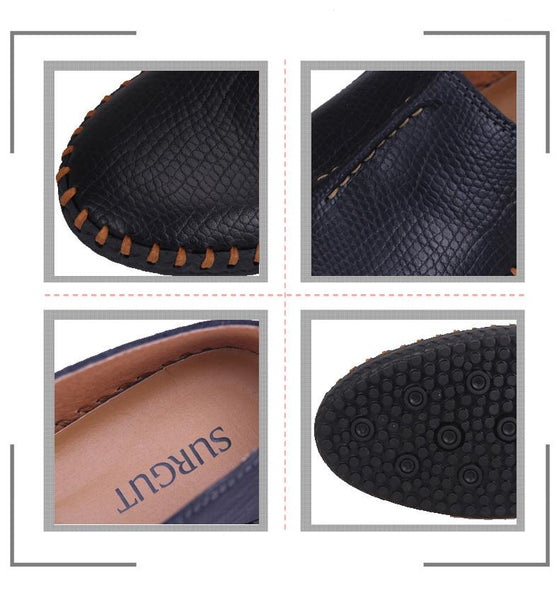 Genuine Leather Men's Casual Soft and Comfortable Driving Flat Shoes - SolaceConnect.com