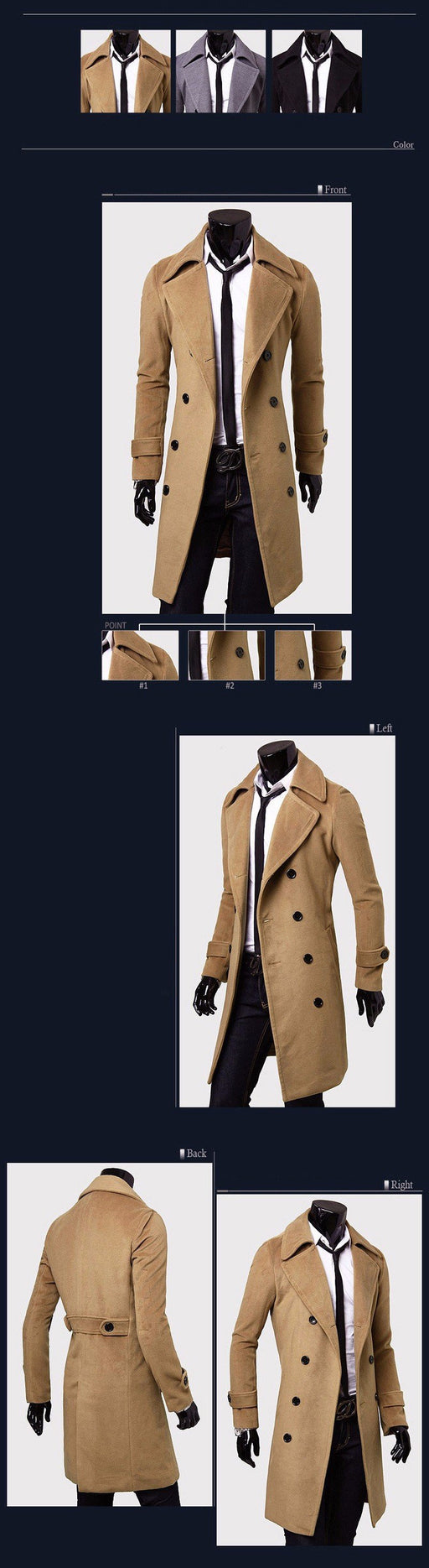Men's Fashion Designer Double-Breasted Windproof Slim Long Trench Coat - SolaceConnect.com