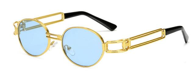 Retro Vintage Round Gold Metal Small Red Oval Unisex Sunglasses - SolaceConnect.com