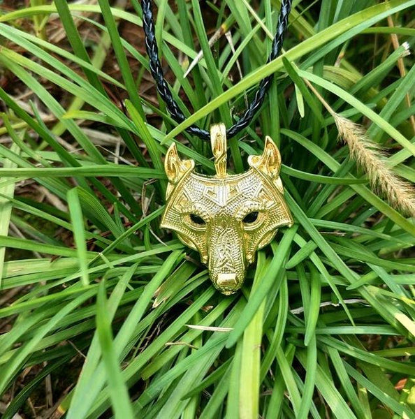Norse Wolf Head Vikings Alloy Pendant Fashion Necklace in Rope Chain - SolaceConnect.com