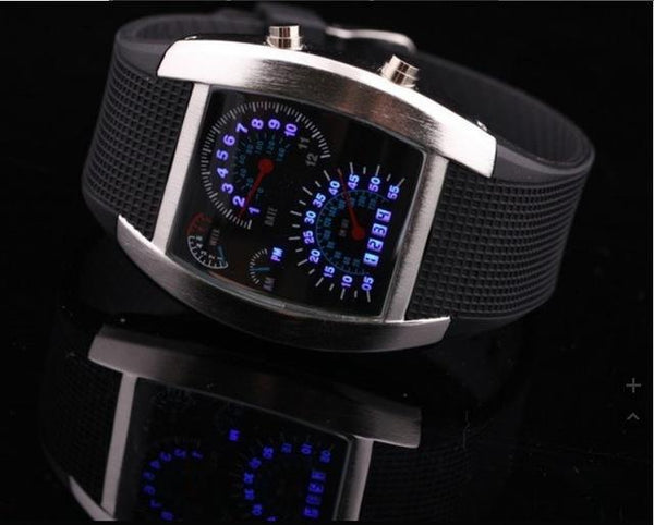 Fashion Men's Unique LED Digital Sports Clock Watch with Rubber Band - SolaceConnect.com