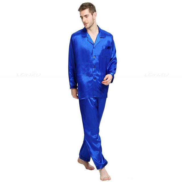 Men Silk Satin Pajamas Set Sleepwear Lounge Wear S M L Xl 2xl