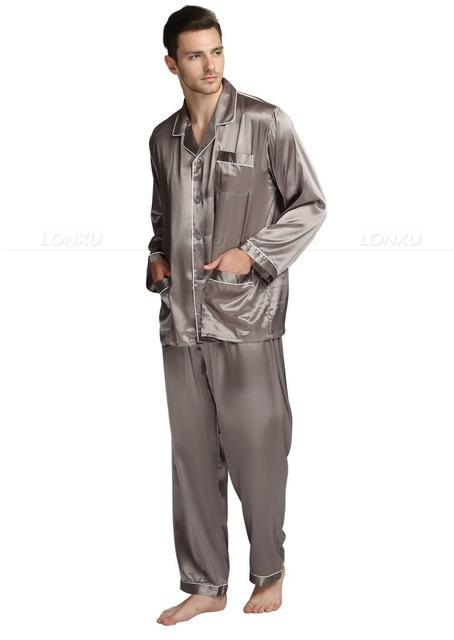 Men's Silk Satin Pajamas Set Turn-down Collar Button Fly Sleepwear - SolaceConnect.com