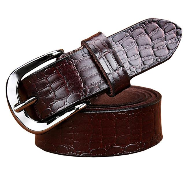 Genuine Leather Fashion Crocodile Second Layer Belts for Women - SolaceConnect.com