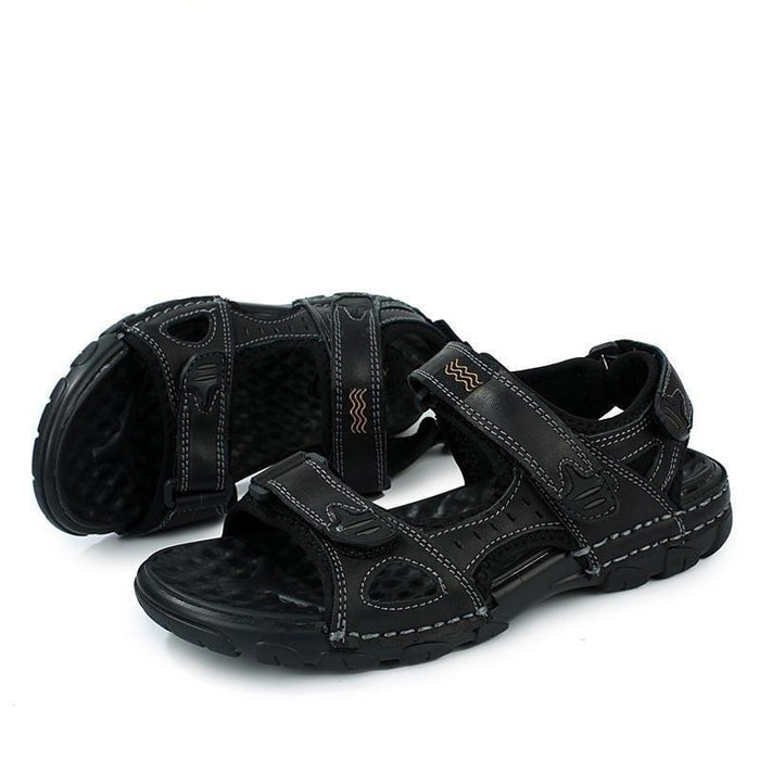 High Quality Genuine Leather Men's Casual Flat Sandals for Summer - SolaceConnect.com