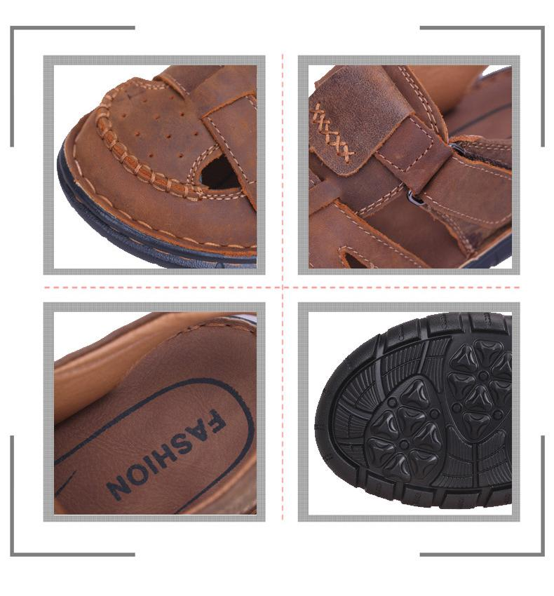 a620c2df8931 ... SURGUT Comfortable Handmade Men Sandals Genuine Leather Soft Summer  Male Shoes Retro Sewing Casual - SolaceConnect ...