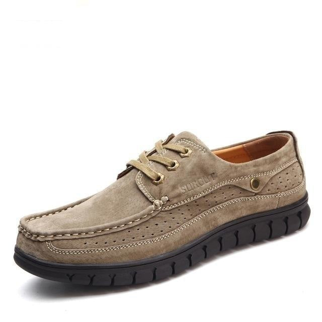 Breathable Casual Men's Split Cow Leather British Fashion Oxford Shoes - SolaceConnect.com