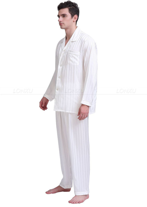 Men's Silk Satin Pajamas Set Sleepwear Loungewear S,M,L,Xl,2Xl,3Xl,4Xl - SolaceConnect.com