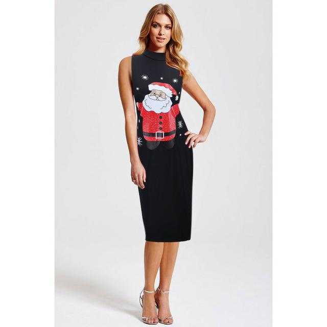 Christmas Dress Sexy Women Slim Vintage Party Dresses Tunic Santa Claus Printing Sleeveless - SolaceConnect.com