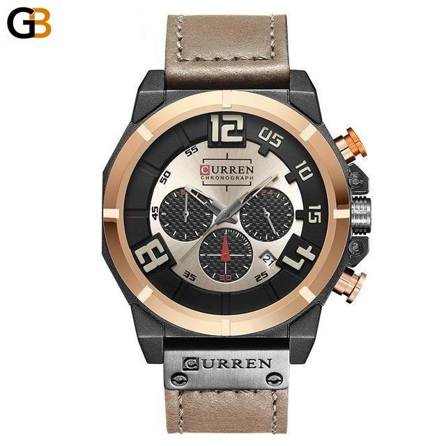 Top Chronograph 24 Hour Date Leather Quartz Sports Watches for Men - SolaceConnect.com