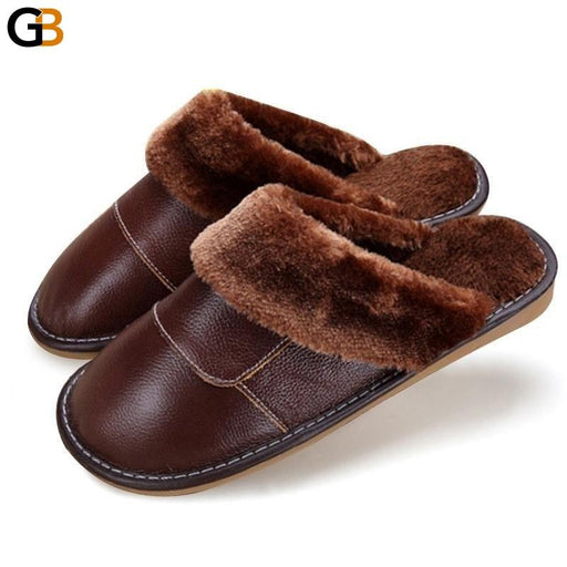 6 Colors Women Men Genuine Leather Plush Warm Indoor Home Slippers - SolaceConnect.com