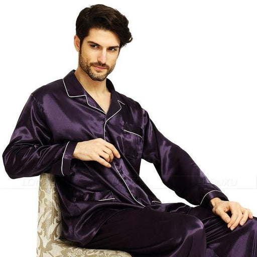 Silk Satin Loungewear Pyjamas Sleepwear Set for Men S,M,L,XL,XXL,XXXL,4XL - SolaceConnect.com
