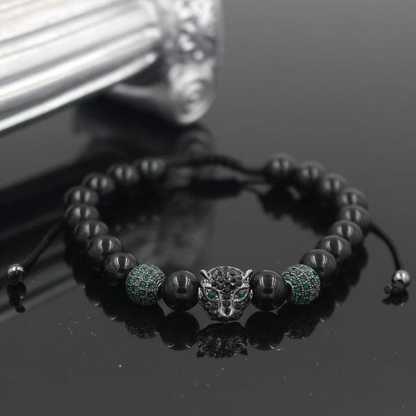 Men's Brass Crystal Leopard Head Black Onyx Stone Bead Charm Bracelet - SolaceConnect.com