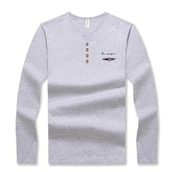 Men's Long Sleeved V Neck Button Decorated Casual Streetwear T-Shirt - SolaceConnect.com
