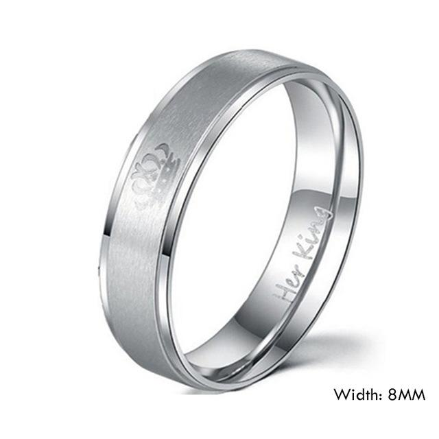 King Queen Crown His Her Stainless Steel Wedding Rings in Classic Style - SolaceConnect.com
