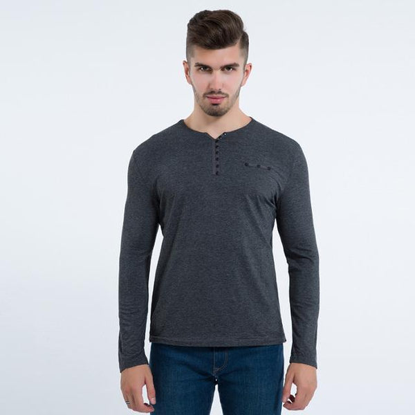 Stylish Luxury Fashion Men's Slim Fit Long Sleeve V Neck Cotton T-Shirts - SolaceConnect.com