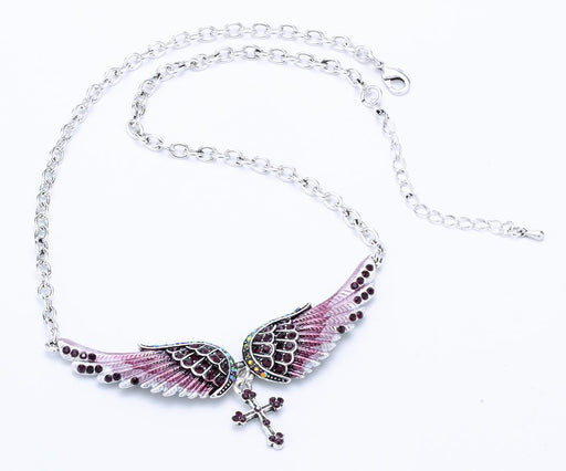 Women's Antique Silver Crystal Angel Wing Cross Choker Necklace Jewelry - SolaceConnect.com