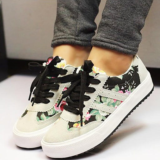 Women's Canvas Breathable Printed Casual Lace-Up Sneakers Shoes - SolaceConnect.com