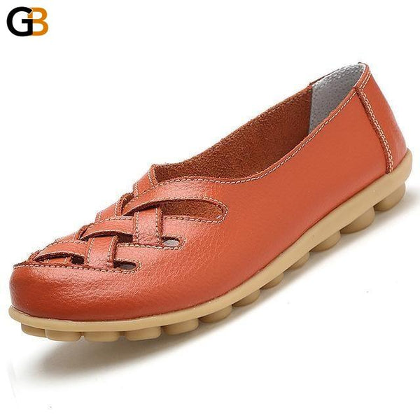 Big Size 34-44 Women's Pig Leather Slip-On Flat Oxford Loafers Shoes - SolaceConnect.com