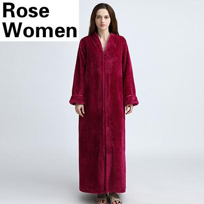 Plus Size Thickening Extra Long Thermal Flannel Warm Unisex Bathrobe - SolaceConnect.com