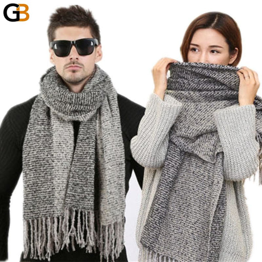 Men's Knitted Design Winter Fashion Solid Scarves in Cashmere Wool - SolaceConnect.com