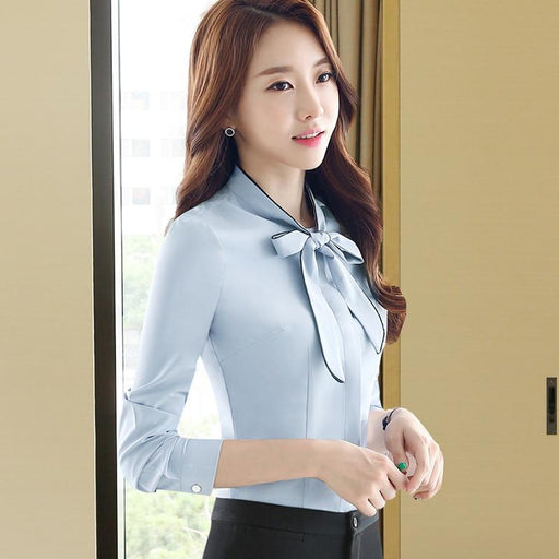 Self Piping White blouse Autumn Work Wear Office Lady bow tie shirts Female Ruffle Tops Chemise - SolaceConnect.com