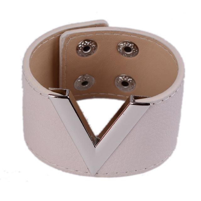 Leather Geometric V Cut Bohemian Style Double Safety Clasp Bracelet - SolaceConnect.com