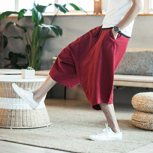 Men's Summer Large CroppedWide-Legged Crotch Loose Harem Pants - SolaceConnect.com