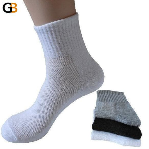 10 Pairs Per Lot Men's Spring Autumn Black Gray Cotton Mesh Socks - SolaceConnect.com