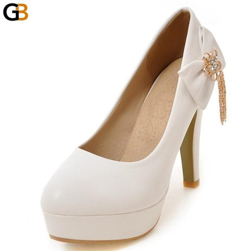 Women's Bowtie Fashion High Heels Shallow Big Size 31-48 Wedding Shoes - SolaceConnect.com
