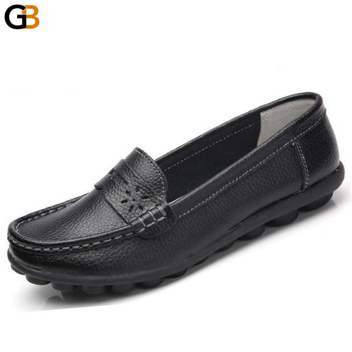 Women's Real Leather Soft Leisure Flat Slip-On Round Toe Moccasin Shoes - SolaceConnect.com