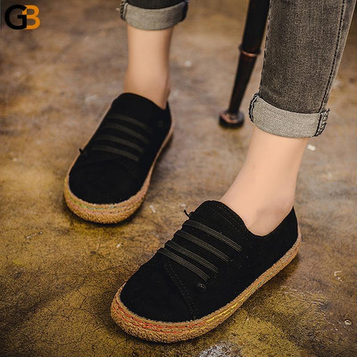 Casual Round Toe Woman's Comfortable Lace Up Autumn Flat Loafer Shoes - SolaceConnect.com