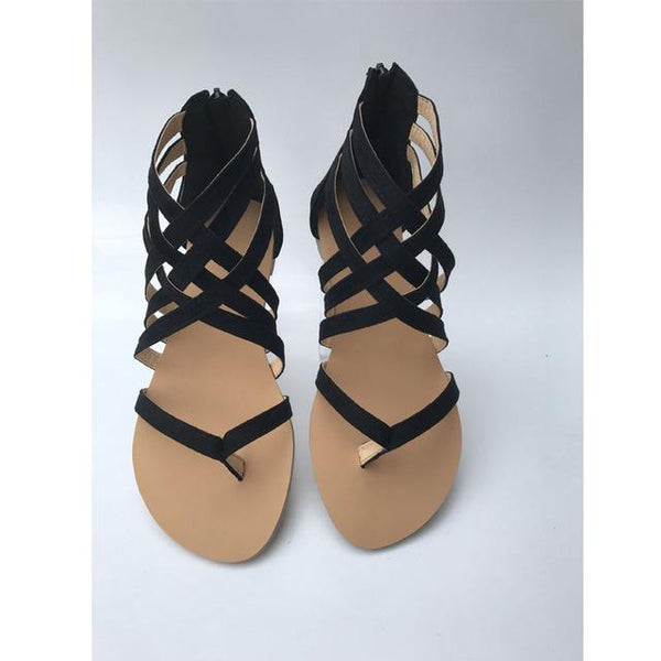 Women's Synthetic Leather Summer Flip Flops Cross Strap Gladiator Sandals - SolaceConnect.com