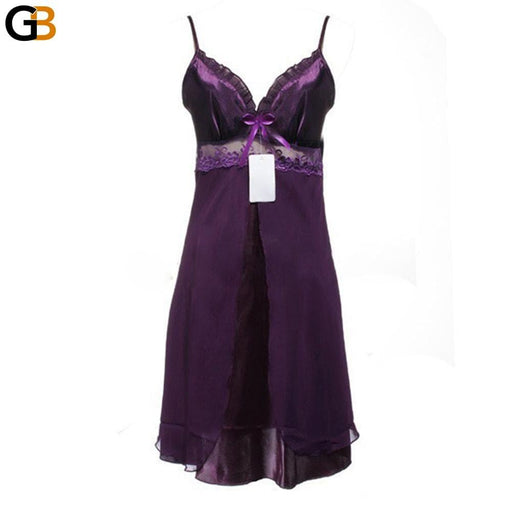 1Pc Women's Lace Lingerie Nightgown Babydoll Sleepwear with Strap - SolaceConnect.com