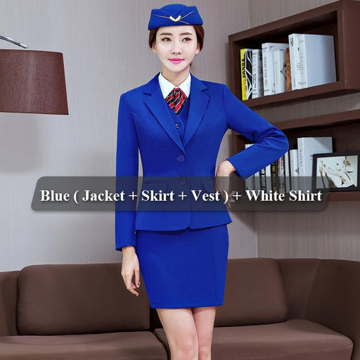 Women's 4-Piece Grey Business Skirt Suit Ladies Uniform Design Work Wear - SolaceConnect.com