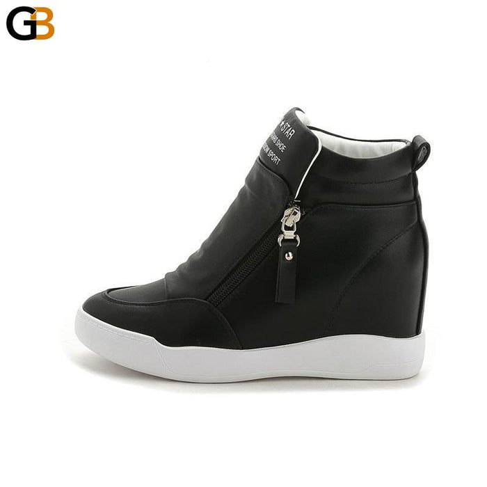 Women's Round Toe Platform Wedges Ankle Length Motorcycle Boots - SolaceConnect.com