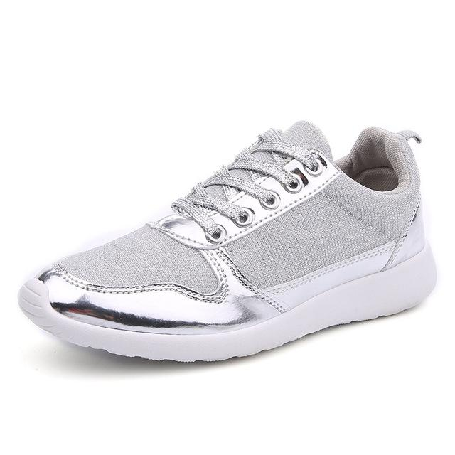 Size 36-41 Women's Gold Silver Mesh Lace-Up Bling Casual Shoes - SolaceConnect.com