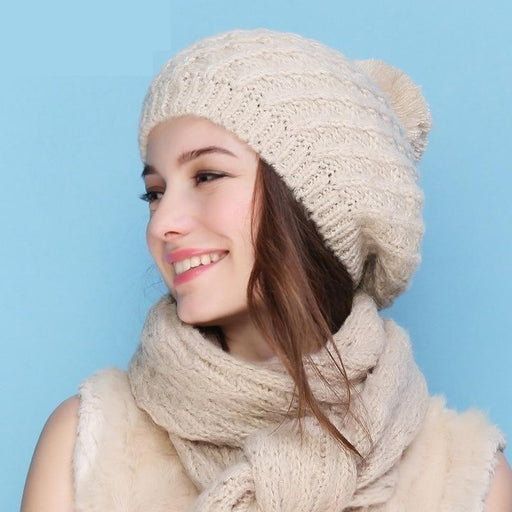 Charles Perra Women Hat Scarf Sets Autumn Winter Knitted Hats Fashion Elegant Casual Warm - SolaceConnect.com
