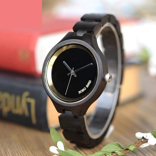 BOBO BIRD WP16 Wood Women Watch at 4 o'clock Slant LOGO Wooden Band Exquisite Quartz Watches - SolaceConnect.com