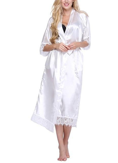 Black Women Silk Rayon Robe Sexy Long Lingerie Sleepwear Kimono Yukata Nightgown Plus Size S M L - SolaceConnect.com