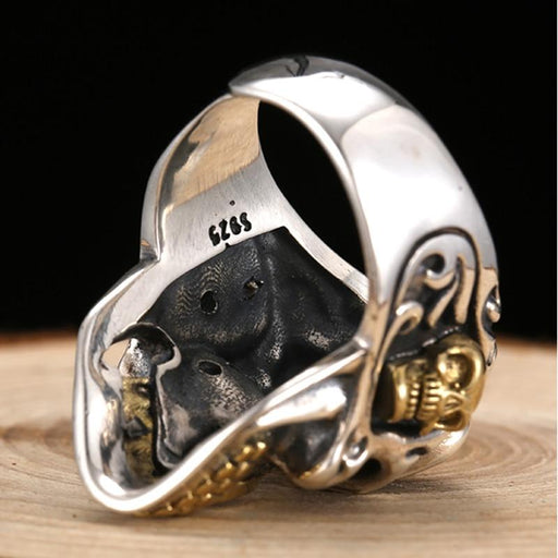 Men's 925 Sterling Silver Punk Red Cubic Zirconia Gothic Skull Silver Ring - SolaceConnect.com