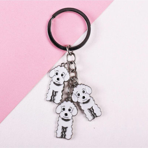 3 Color Poodle Teddy Dog Car Key Chain Fashion Jewelry Pendants for Bags - SolaceConnect.com