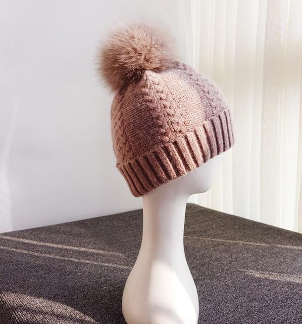 Autumn Winter Wool and Fox Fur Pom Pom Beanie Cap for Women - SolaceConnect.com