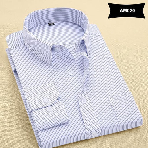 Men's Pure Color Twill Fabric Turn-Down Collar Formal Business Shirt - SolaceConnect.com