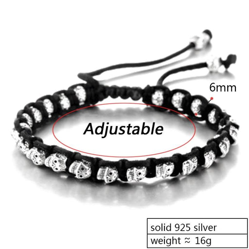 Real 925 Sterling Silver Unisex Skull Rope Lace-Up Handmade Bracelet - SolaceConnect.com