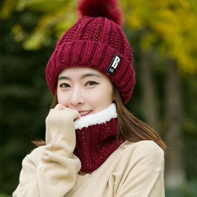 BINGYUANHAOXUAN B letters knitted Hat Women Brand High Quality Winter Women Ball Ski Rabbit Fur - SolaceConnect.com