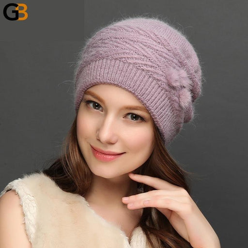 Charles Perra Women Wool Hats NEW Autumn Winter Rabbit Hair Knitted Caps Warm Protect Ear Casual - SolaceConnect.com