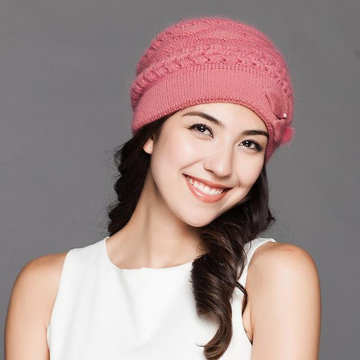 Charles Perra Women Knitted Hats Winter Thicken Double Layer Elegant Casual Wool Blend Women's Hat - SolaceConnect.com